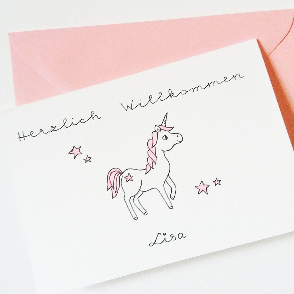 Babykarte Einhorn - Geburtstagskarte Zazrak - Personalisierte Grußkarten und Dekoartikel