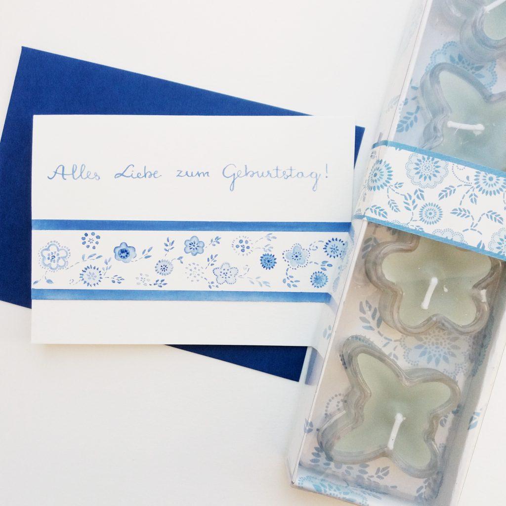 Geburtstagskarte Blümchen blau - Geburtstagskarte Zazrak - Personalisierte Grußkarten und Dekoartikel