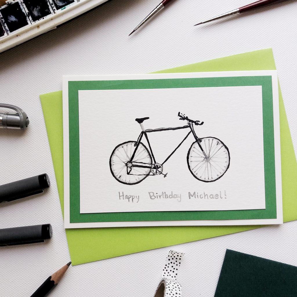 Geburtstagskarte -Fahrrad personalisiert