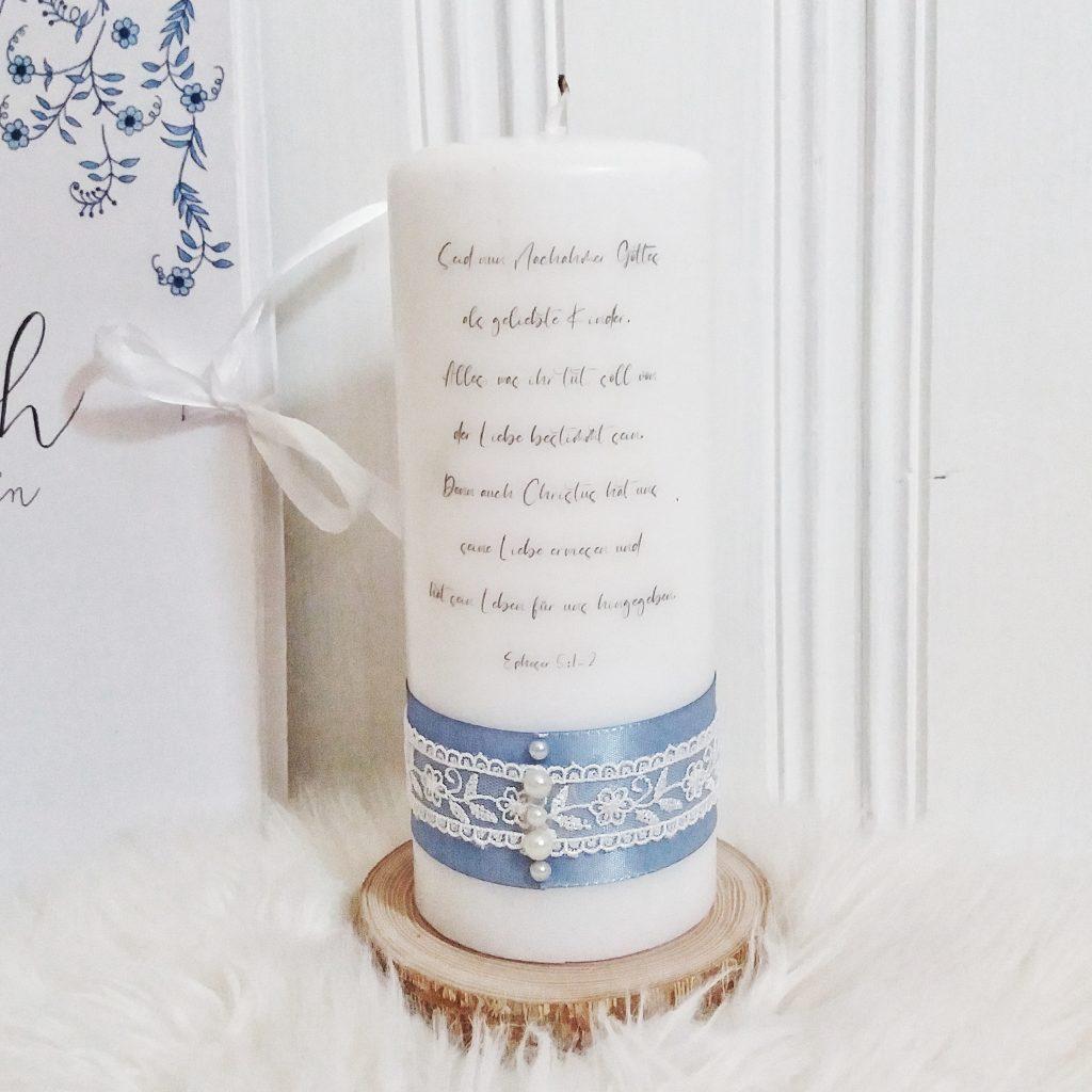 Hochzeitskerze - Blau Spitze
