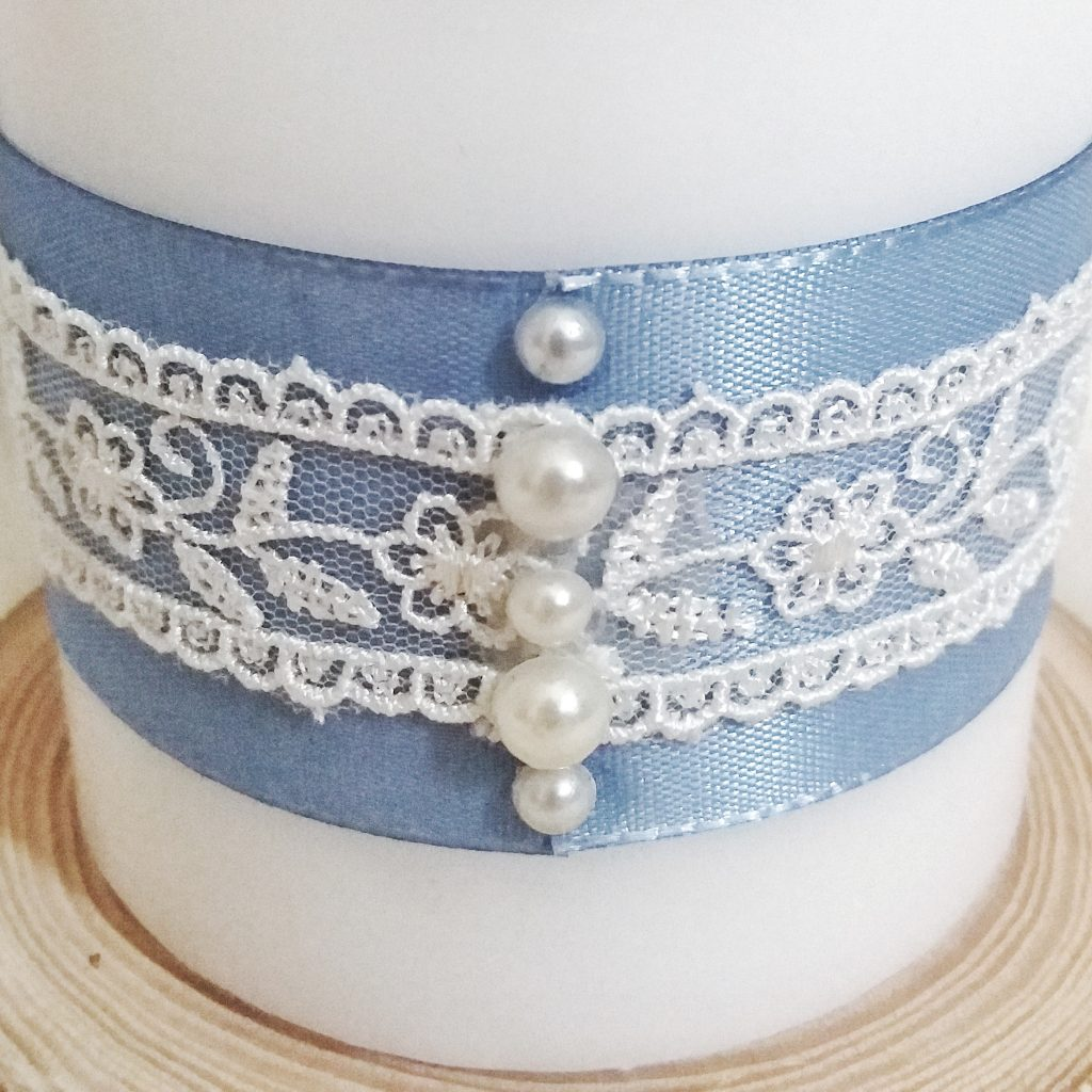 Hochzeitskerze - Blau Perle