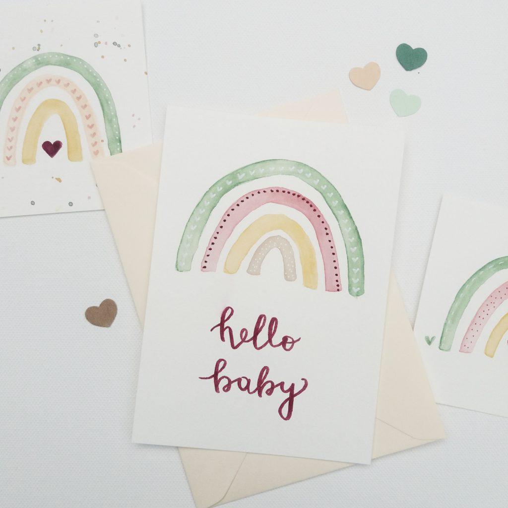 Babykarte personalisiert - Regenbogen