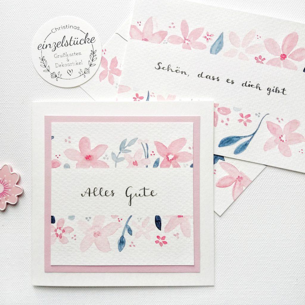 Geburtstagskarte personalisiert - rosa Alles Gute