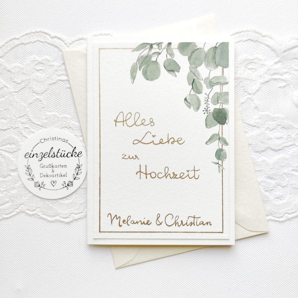 Hochzeitskarte personalisiert - Eukalyptus