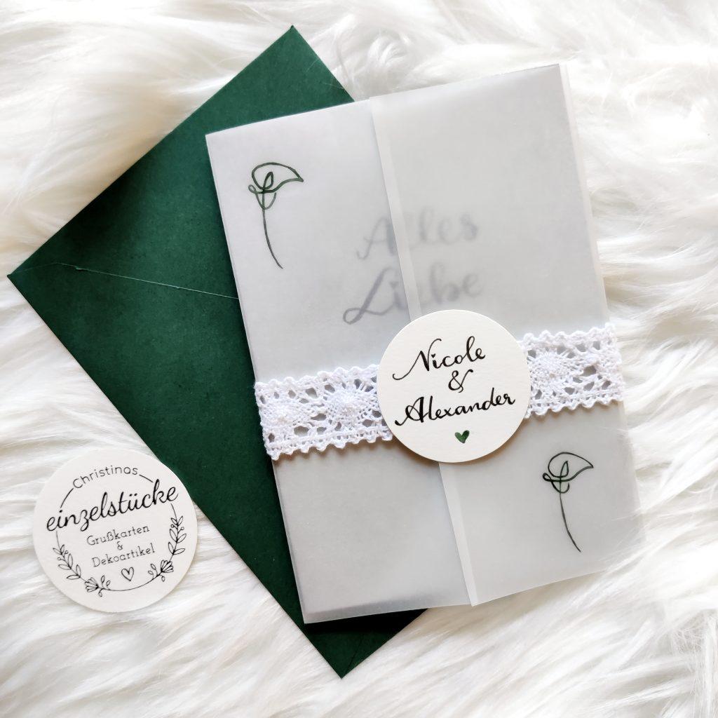 Hochzeitskarte personalisiert - gruen