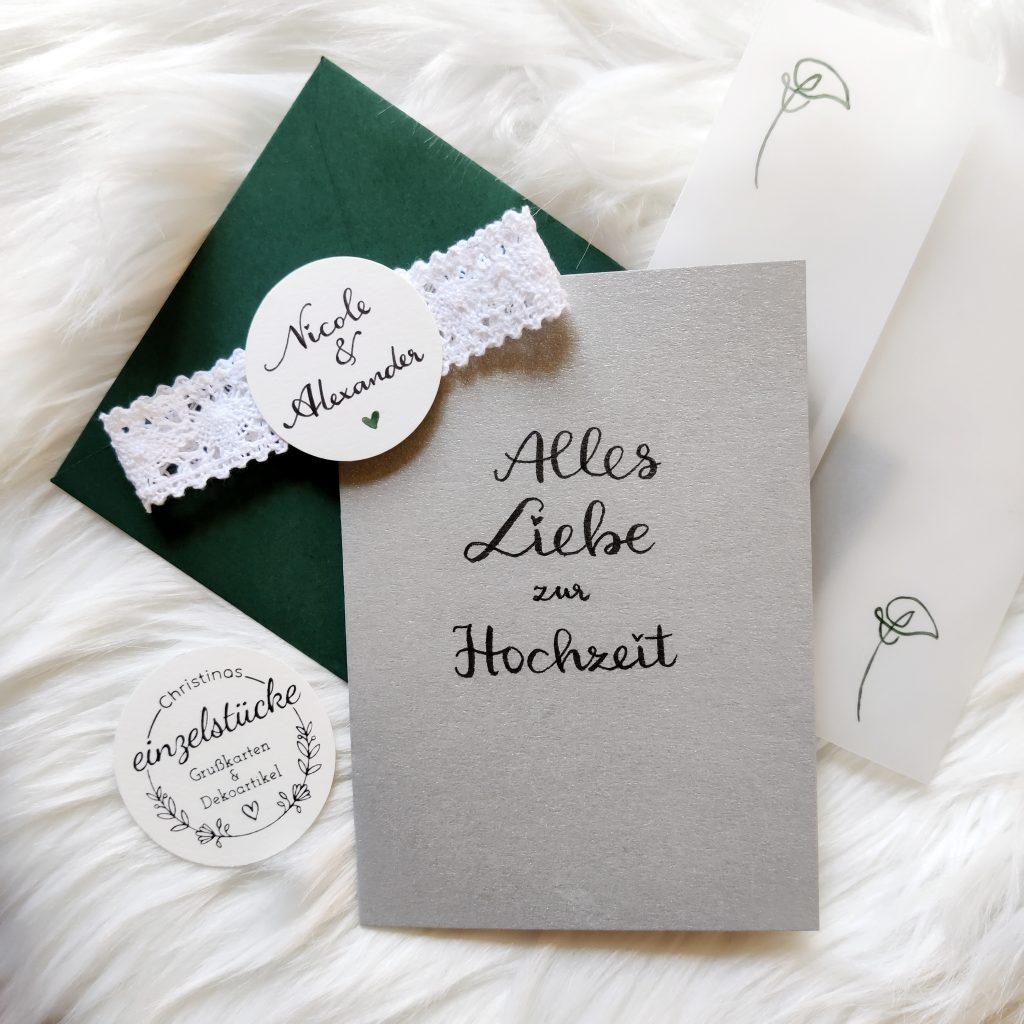 Hochzeitskarte personalisiert - gruen unboxed